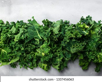 Fresh organic green kale background, selective focus, top view, copy space. Green texture. Banner