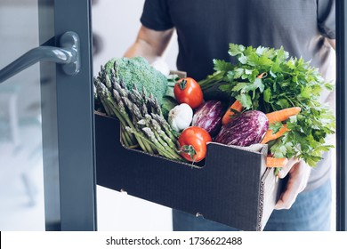 Fresh organic greens and vegetables delivery. Man hands holding box with farmer bio crop delivering in the house doorway. Small local business support. Online grocery shopping