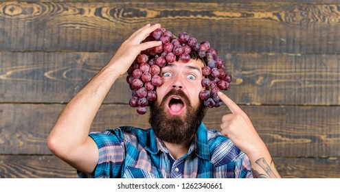 Fresh organic harvest. Grapes from own garden. Farming concept. Man hold grapes wooden background. Farmer bearded guy with homegrown harvest grapes put on head. Farmer proud of grapes harvest.