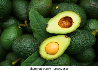 Frischer Bio-Hase-Avocados, Draufsicht mit Kopienraum