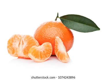 Fresh organic mandarins tangerines fruits with leaves with peeled halves on white background