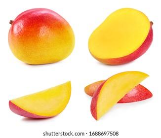 Fresh organic mango isolated on white background. Red mango fruit clipping path. Mango macro studio photo. Collection mango
