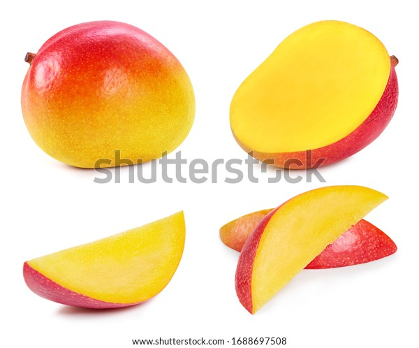 Fresh organic mango isolated on white background. Red mango fruit clipping path. Mango macro studio photo. Collection mango