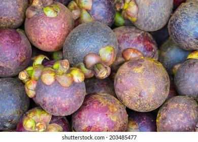 Fresh organic mangosteen Thai fruit in market from thailand.