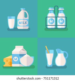 Fresh organic milk concept background with dairy products. Milk food product, illustration of organic natural cow milk