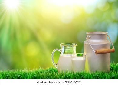 Fresh organic milk. Nature background. Dairy concept.