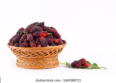 fresh organic mulberries in brown and mulberries lef basket on white background healthy mulberry fruit food isolated