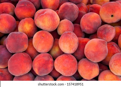 Fresh Organic Peaches  Heap Of Fresh Ripe Peaches At A Turkish Street Market.