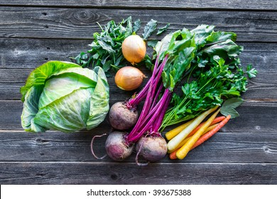 Fresh organic produce. Cabbage, Beets, Carrots, Onions, Kale and Parsley