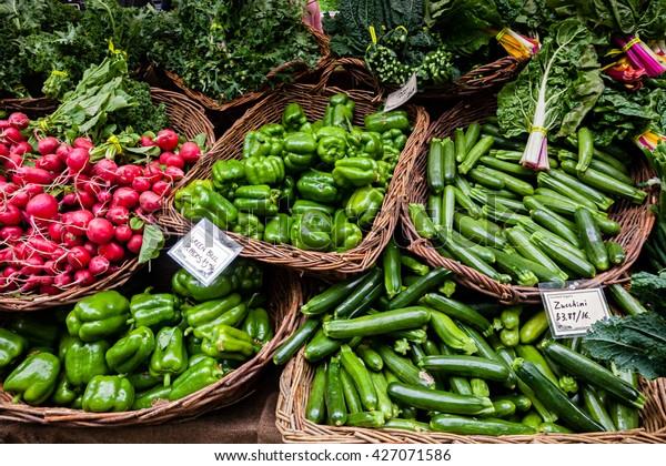 Fresh organic produce at a local farmers market.