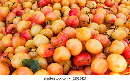 Fresh organic rainier cherries.