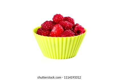 Fresh organic raspberry with colourful summer minimalist setup