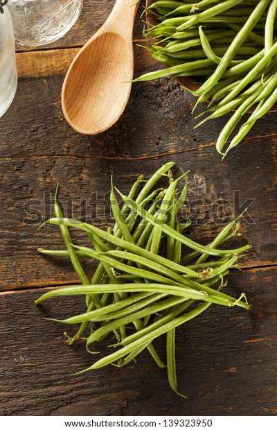 Fresh Organic Raw French Green Beans on a background