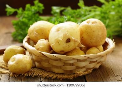 fresh organic raw potatoes in a basket