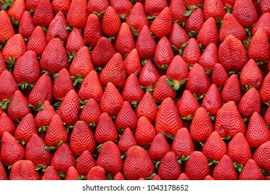 Fresh organic red strawberries fruit background pattern