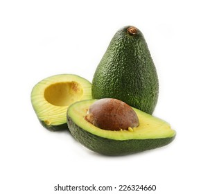 fresh organic ripe avocado on a white background
