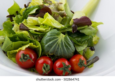 Fresh organic salad of Brussels sprouts and cherry tomatoes