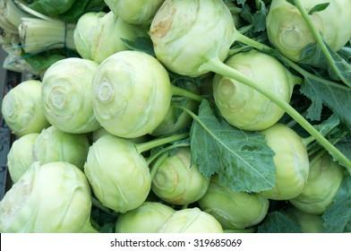 Fresh Organic Spring Kohlrabi on the Marketplace