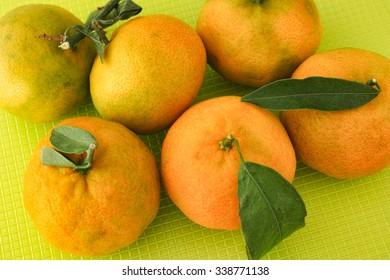 Fresh organic tangerines. Close up.