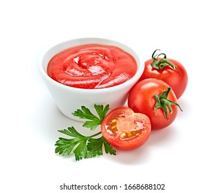 Fresh, organic tomato puree, isolated on white. Tomato cherry sauce in bowl, cooking concept. Healthy vitamin vegetables, vegan diet food condiment. Raw tasty cherry ketchup. - Shutterstock ID 1668688102