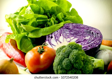 Fresh organic vegetable - eating healthy food in healthy diet
