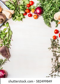 Fresh organic vegetables food background on white wooden , top view, frame