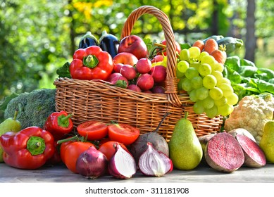 Fresh organic vegetables and fruits in the garden. Balanced diet