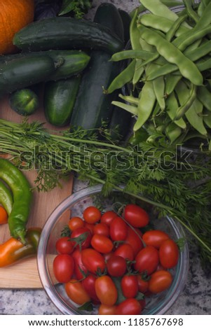 Fresh organic vegetables including tomatoes, carrots,peppers, cucumbers and green beans