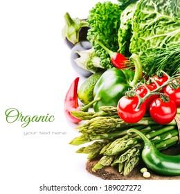 Fresh organic vegetables isolated over white background