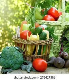 Fresh organic vegetables on table