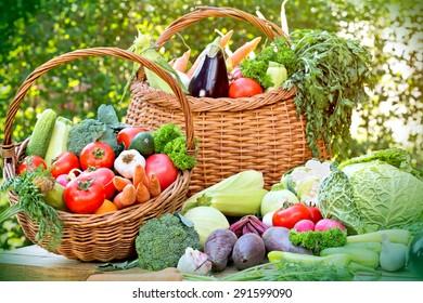 Fresh organic vegetables in wicker basket
