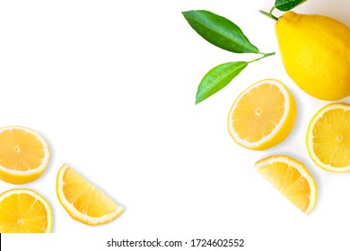 Fresh organic yellow lemon lime fruit with slice and green leaves isolated on white background . Top view. Flat lay. Copy space for text.