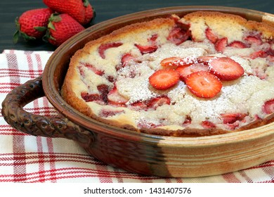 Fresh out of the oven homemade strawberry cobbler.  Selective focus, macro image.