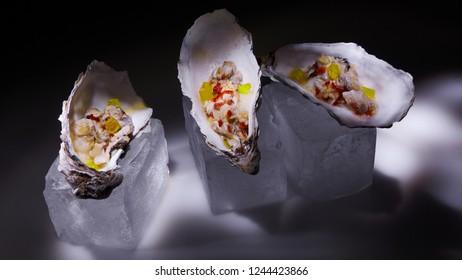 Fresh Oyster salad on the half shells.