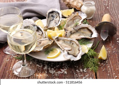fresh oyster and wine glass