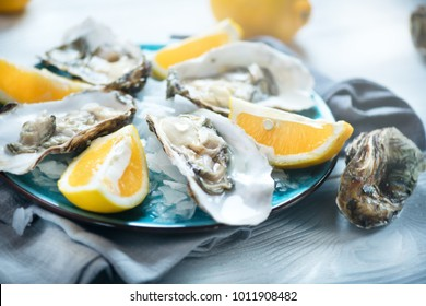 Fresh Oysters close-up on blue plate, served table with oysters, lemon and ice. Healthy sea food. Fresh Oyster dinner in restaurant. Gourmet food.
