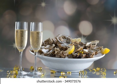 Fresh oysters with glass of champaigne