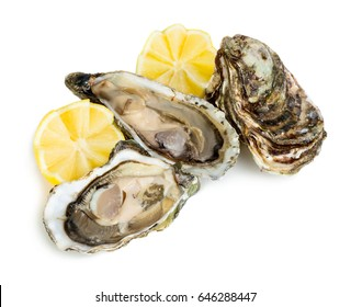 Fresh oysters with lemon isolated on white background