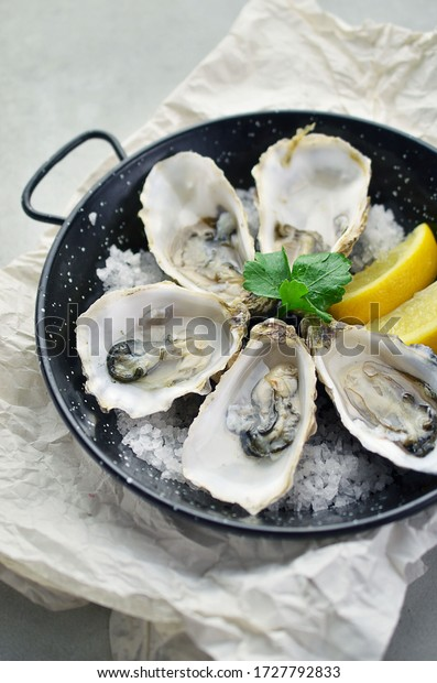 Fresh oysters on frying pan