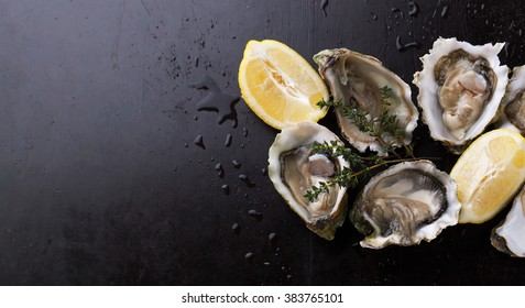 Fresh Oysters in shell with lemon on a dark background