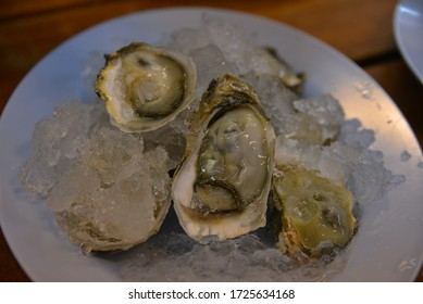 Fresh oysters in a white plate with ice, Bangkok THAILAND