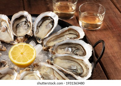 Fresh oysters with white wine and lemon, a close-up on a dark rustic wooden background