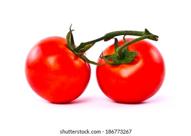 Fresh Pair two of Red Tomato isolated on white background.