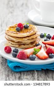fresh pancakes with honey