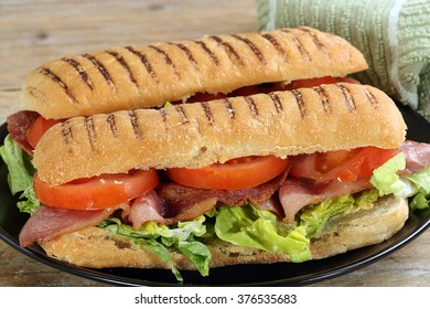 fresh panini filled with crispy bacon lettuce and tomato