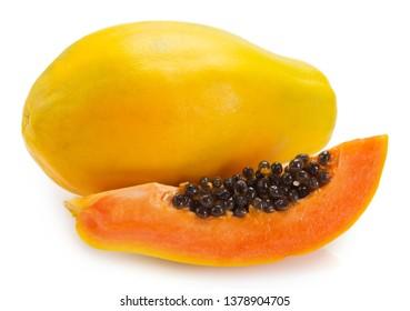 fresh papaya isolated on white background
