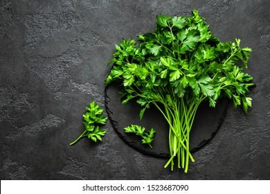 Fresh parsley bunch, top view