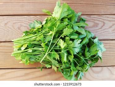 Fresh parsley on wood background