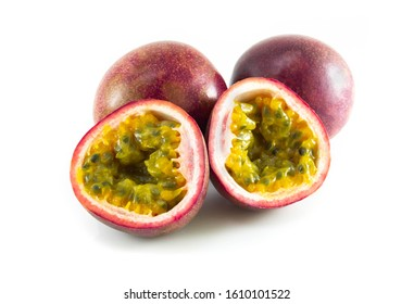Fresh passion fruit isolated on white background, food healthy concept