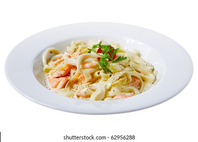 fresh pasta with seafood isolated on white